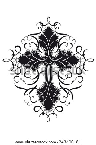 Isolated stylized crucifix vector with curls - stock vector
