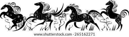 isolated stylized funny silhouettes of running horses - stock vector