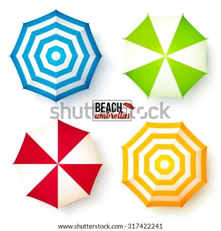 Isolated summer beach umbrellas vector set - stock vector