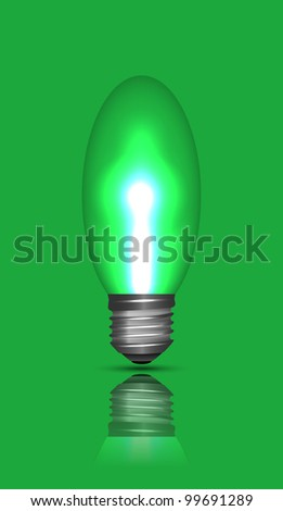 Isolated switched bulb with reflection on green, vector illustration, eps10