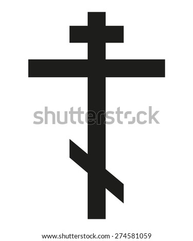 Isolated symbol of orthodox cross in black color - stock vector