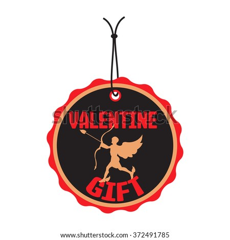 Isolated tag with cupid silhouette and the text Valentine gift written with red letters on the tag - stock vector