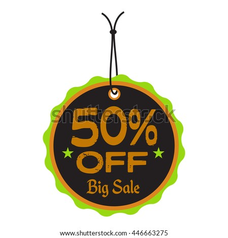 Isolated tag with the text fifty percent off written on the tag - stock vector