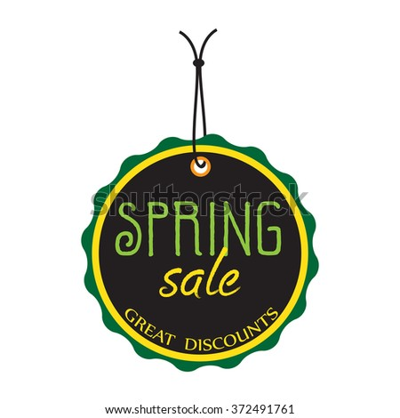 Isolated tag with the text spring sale, great discounts written inside the tag