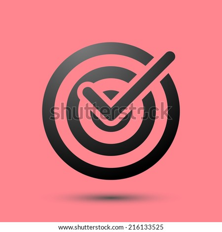 Isolated target icon symbol over red. Vector illustration
