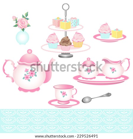 Isolated Tea Party Objects with Teapot,Tea Cup, Cakes and Flowers - stock vector
