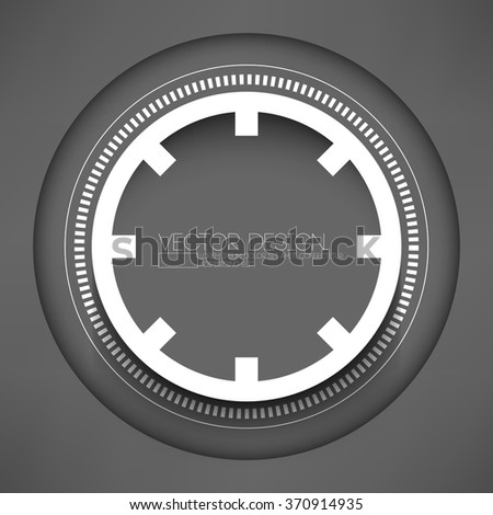 isolated technology round shape paper ring on gray background - stock vector