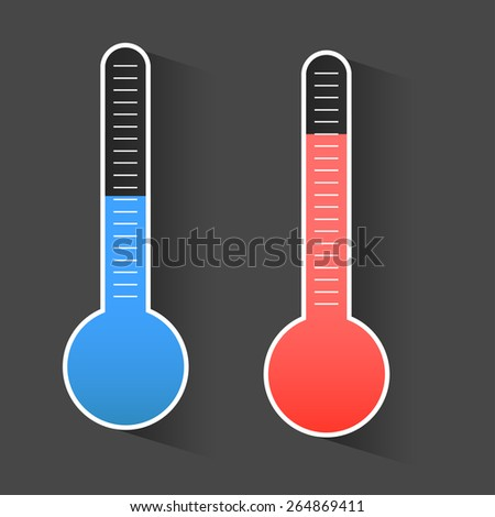 Isolated thermometers in different colors - stock vector