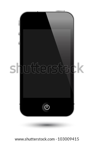 isolated touch screen smartphone in eps10 format, to preserve the reflection effects after replace with images on screen. - stock vector