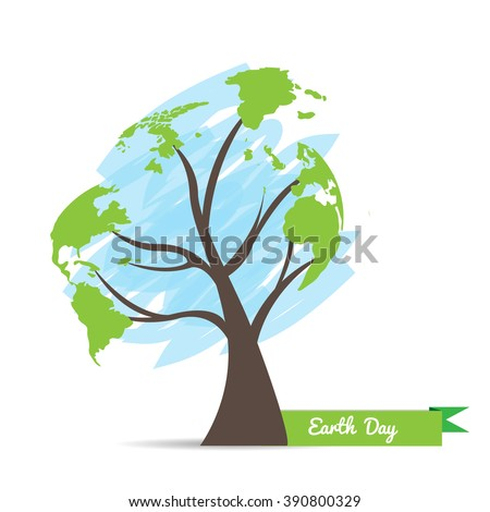 Isolated tree and a sketch of our planet on a white background for earth day - stock vector