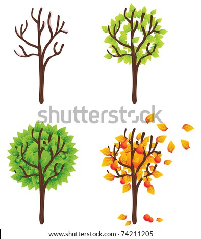 Isolated trees seasonal vector set