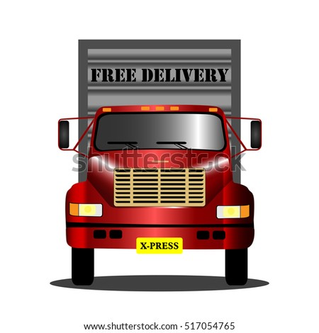Isolated truck with free delivery text, Vector illustration