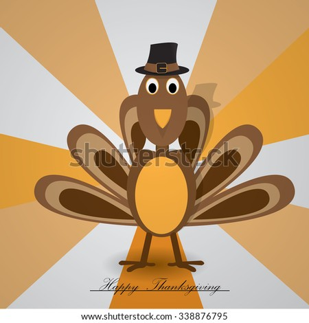 Isolated turkey with a traditional text on a colored background for thanksgiving day