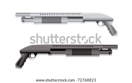 isolated  two shotguns realistic illustration - stock vector