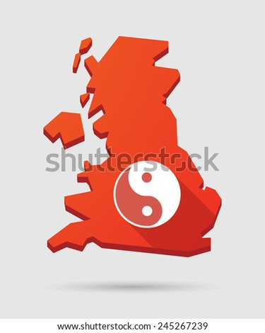 Isolated UK map icon with a ying yang - stock vector