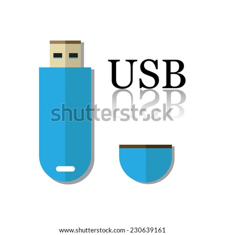 Isolated USB flash drive in blue - stock vector