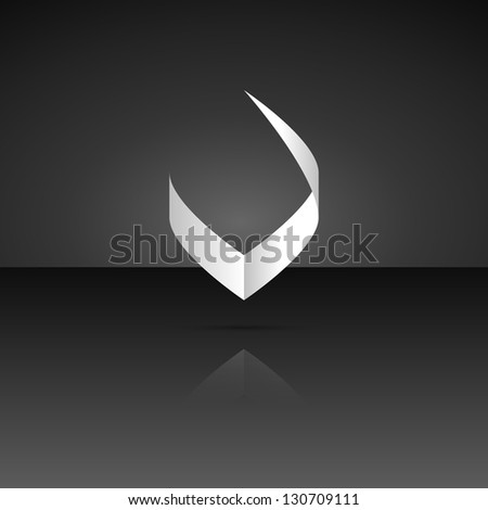 Isolated V symbol with shadow and subtle reflection / Victory sign - stock vector