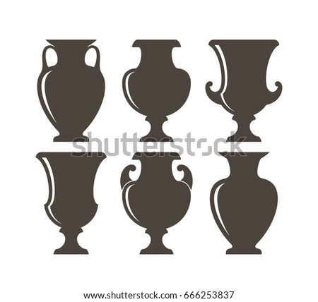 Isolated Vases On White Background Ancient Stock Vector Royalty