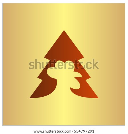 Isolated Vecrtor Sign Icon Rooster Firtree Stock Vector 554797291