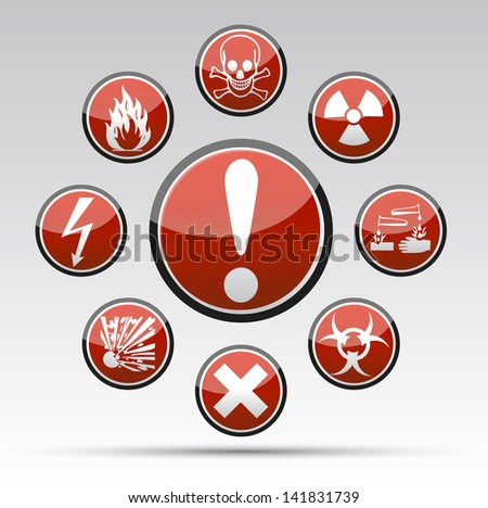 Isolated vector Circle Danger sign collection with black border, reflection and shadow on light background - stock vector