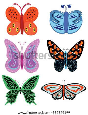 Isolated vector collection of colorful butterflies with different shapes and patterns - Eps 10 vector and illustration - stock vector