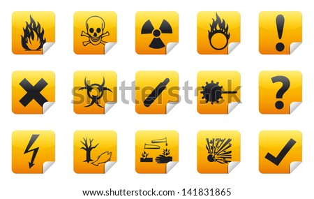Isolated vector Danger icon sign collection (set) with shadow on background - stock vector