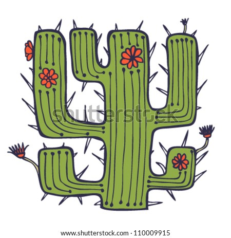 Isolated vector drawn cactus with flowers and thorns. Stylish african element. Plant of desert. Can be used for print on pocket, cup, souvenir, bag template. clothes - stock vector