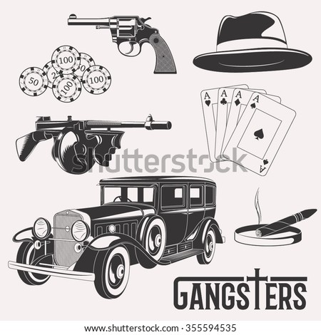 Isolated vector gangster set on white background - stock vector