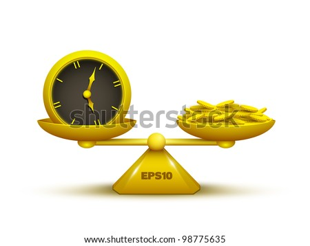 Isolated vector gold scale with clock and golden coins. - stock vector