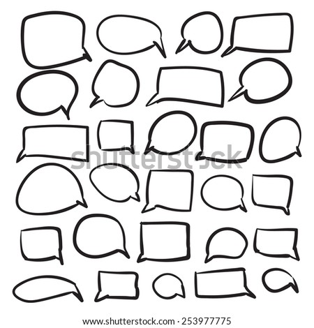 Isolated vector hand drawn Speech Bubble set on a white background - stock vector
