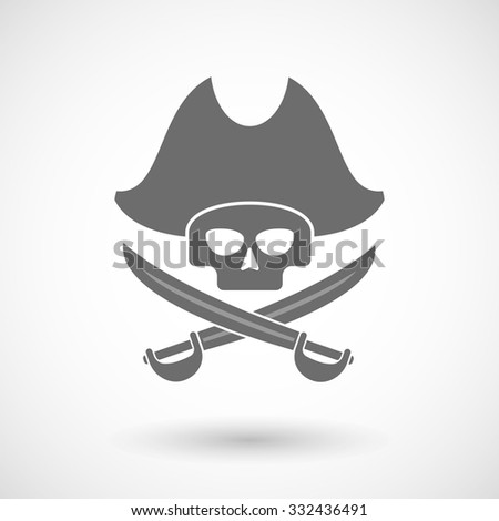 Isolated vector illustration of a pirate skull - stock vector