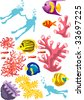 Isolated vector illustration of divers silhouette, corals, colorful tropical fishes. - stock vector
