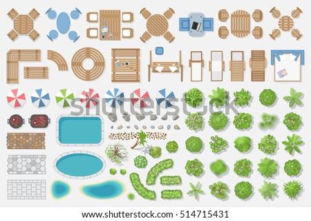 Garden Furniture Top View set landscape elements nature city village stock vector 518830633