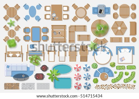 Isolated Vector Illustration. Outdoor Furniture For Landscape Design (top  View).