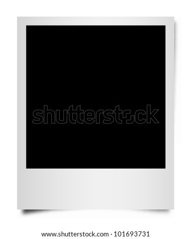 Isolated vector instant photo frame with shadow. - stock vector