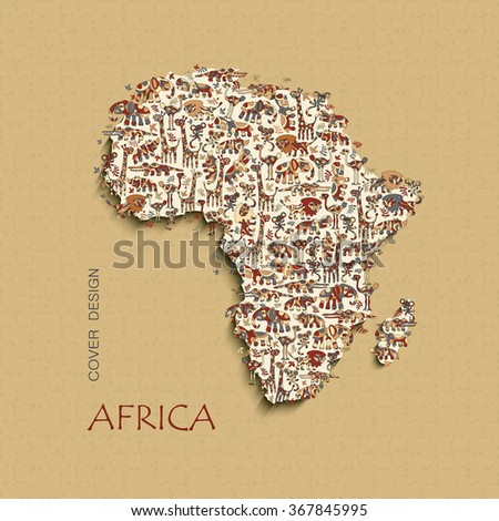 Isolated vector map of Africa with wild animals savanna. Funny colorful lion, elephant, giraffe, croc, hippo, rhino, ostrich, monkey. Borders Africa with shadow.  - stock vector