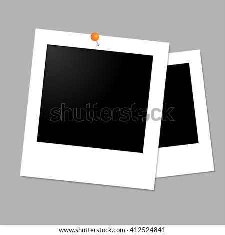 Isolated vector on grey background. Old photo frame.Photograph in paper. - stock vector