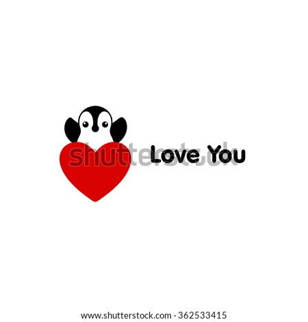 Isolated vector penguin logo. Designed animals icon. Cartoon illustration. Winter signs. Black, white and red. Graphic illustration for St.Valentines Day. Flat heart symbol. Love greeting card. Amour. - stock vector