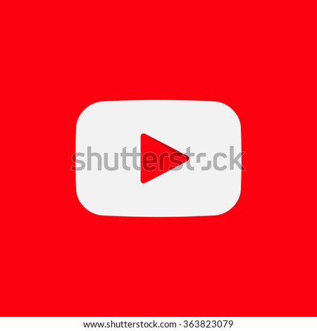 Isolated vector play sign. Red and white digital element. Designed media button. Audio video player symbol. Rectangular app logo.  - stock vector