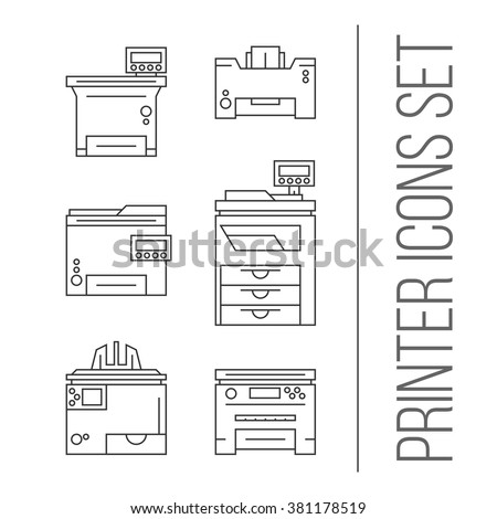 Isolated Vector Printer Icons Set Document Print Equipment Color On White Background