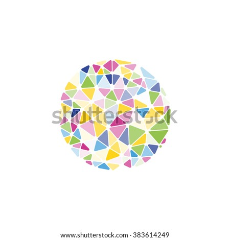 Isolated vector round. Abstract composition, polygonal construction, connecting dots and lines, space background. Wireframe mesh broken  element. Sphere.