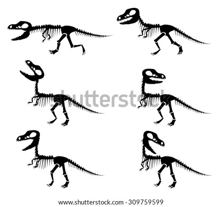 Isolated vector silhouettes of the skeleton of a Tyrannosaurus rex dinosaur in silhouette style. - stock vector