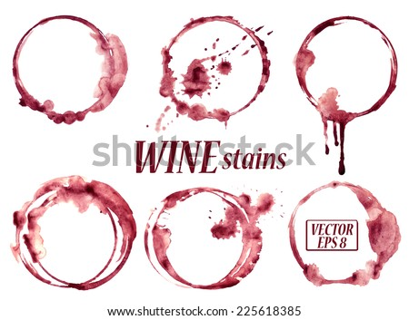 Isolated vector watercolor spilled wine glasses stains icons