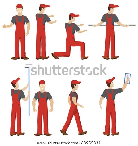 Isolated vector workers with tools - stock vector