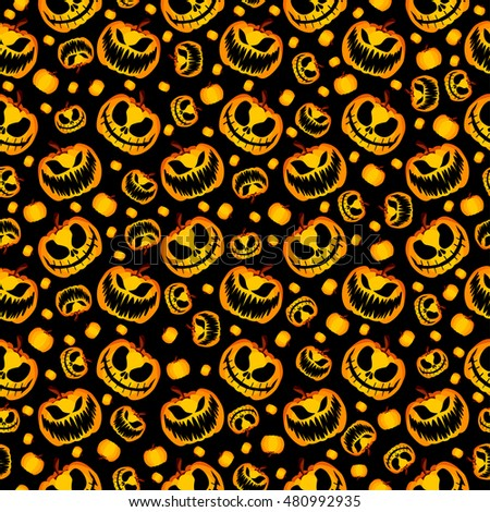 Isolated Vector Yellow Orange Festive Scary and Spooky Halloween Pumpkin on Black Background, Holiday Seamless Halloween Pattern. Seamless Halloween Wrapping Paper. Halloween Gift Wrapping Paper
