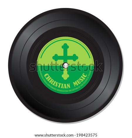 Isolated vinyl record with the text Christian music written under a cross symbol - stock vector