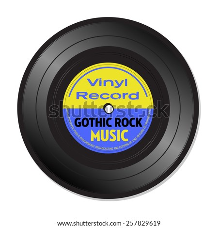 Isolated vinyl record with the text Gothic rock music written on the record - stock vector