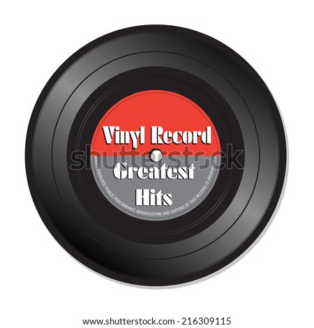 Isolated vinyl record with the text Greatest Hits written on the record - stock vector