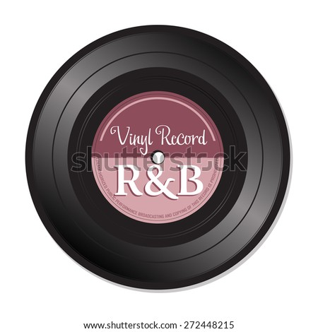 Isolated vinyl record with the text R&B written on the record. Rhythm and blues vinyl record concept - stock vector