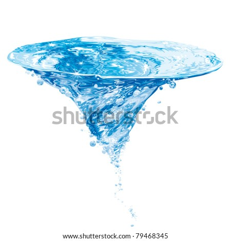 isolated water vortex on white background, whirlpool, vector realistic illustration - stock vector